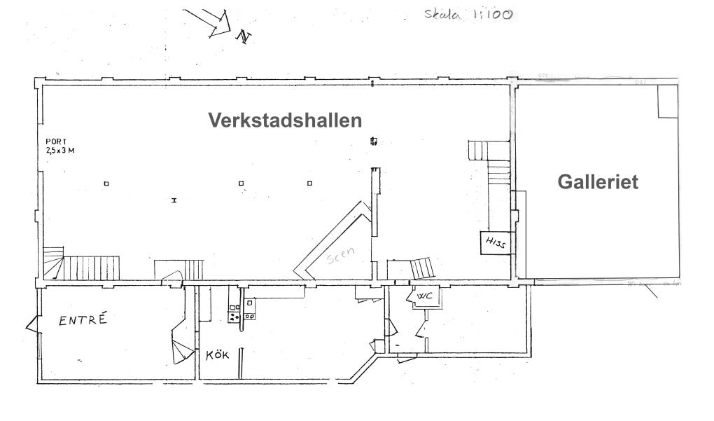 Planskiss, nedervåningen.